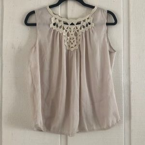 Tops - Cream Blouse with Lace/Macrame